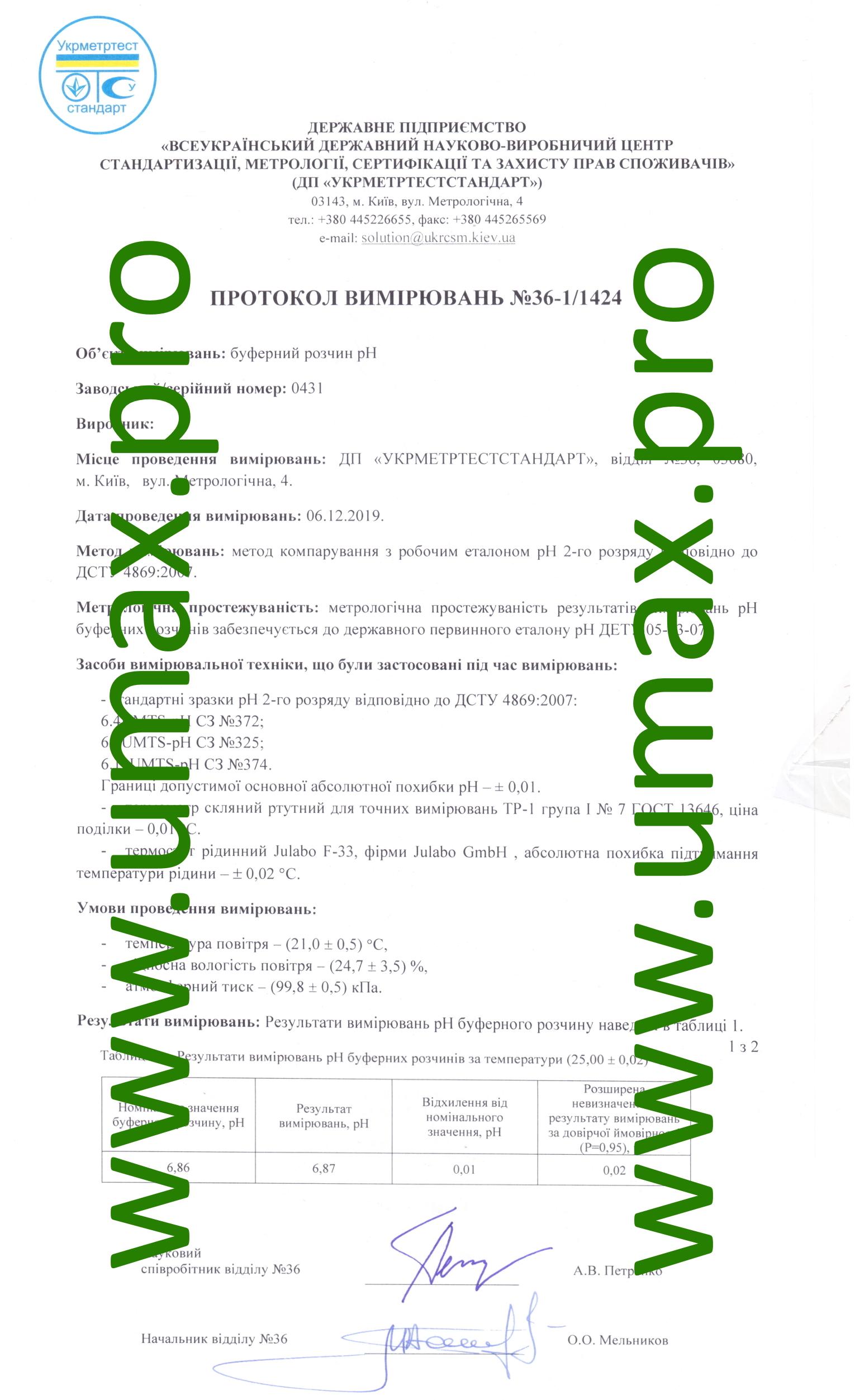 Протокол измерений номиналов калибровочных буферных растворов 6.86 рН